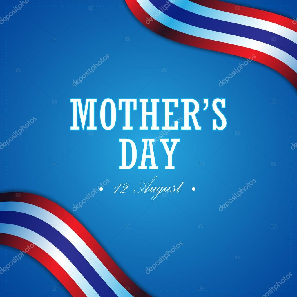 Mother day and thailand flag banner