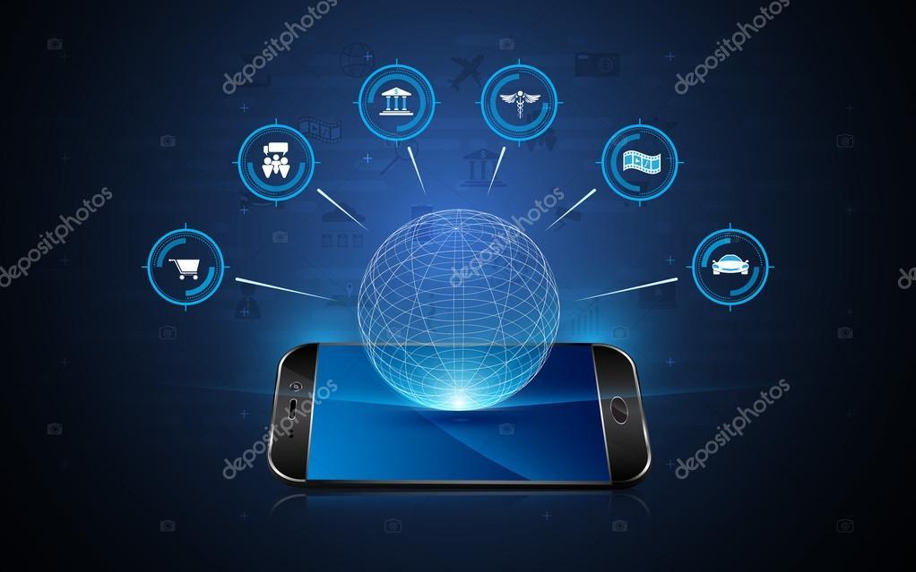 Hologram interactive telephone technology — Stock Vector