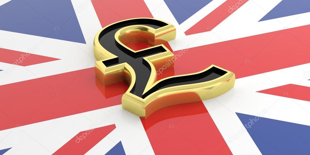 3d Rendering British Pound Symbol On A Gb Flag Stock Photo