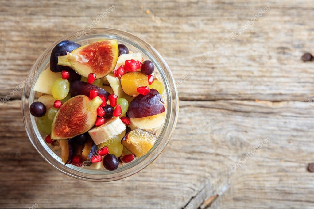 Fruit salad on a wooden table