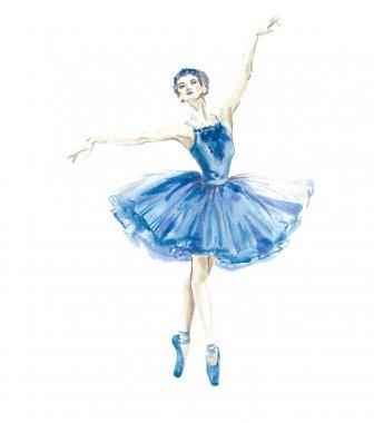 Watercolor ballerina  painted