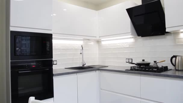 White compact kitchen interior with built-in household appliances