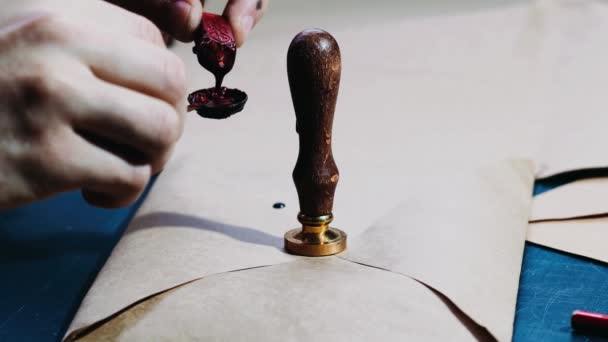 Vintage notary stamp with the wax seal, footage of a man sealing a letter