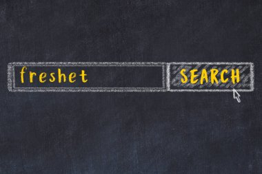 Concept of looking for freshet. Chalk drawing of search engine and inscription on wooden chalkboard