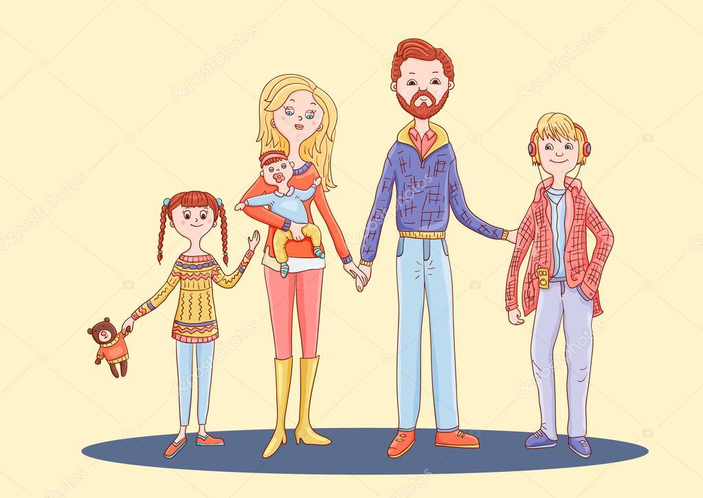 семья картинки нарисованные цветные
