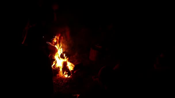 People Sitting By Campfire Slow Motion