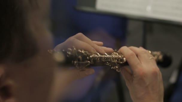 Mani del musicista che suona loboe