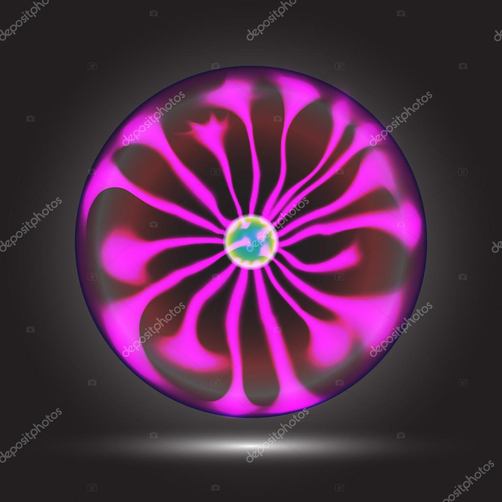 Plasma ball in action. Magic and bright lighting effects. Vector Illustration EPS10