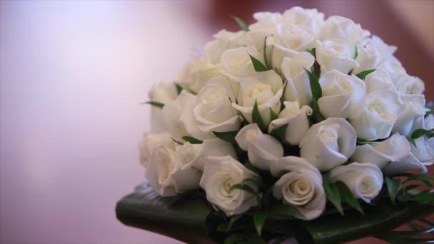 White roses, elegant bouquet tied.