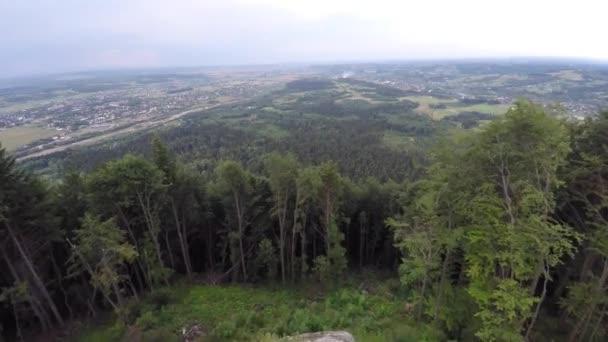 Horský hřeben pokryta lesem. Horská krajina. Hukot video