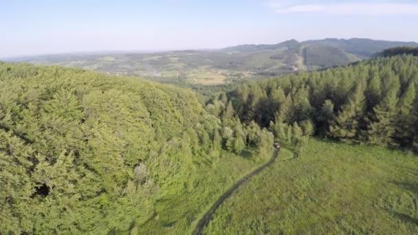 Hora s road ridge pokryta lesem. Horská krajina