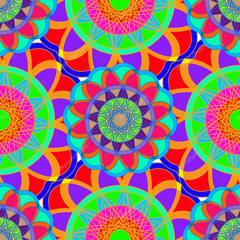 Mod le sans soudure de mandala g om triques fractales - Modele de mandala ...