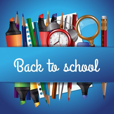 Back to school background with various school tools