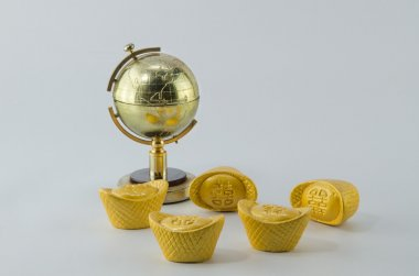 Globe golden Gold ingot Chinese White background