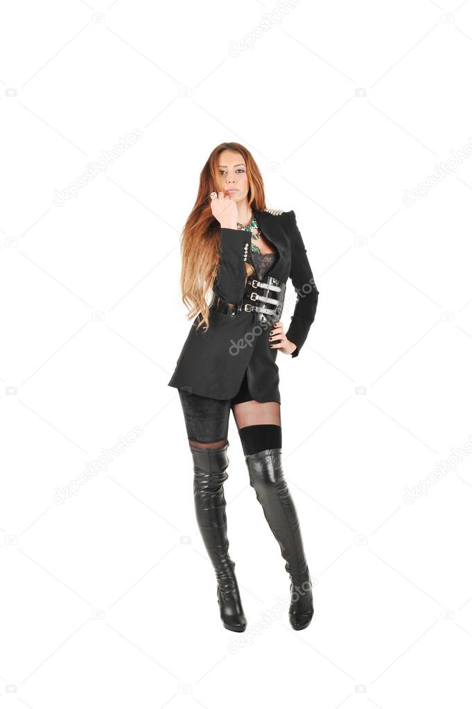 Women Wearing Black Jacket And Black Socks And Long Leather Boots