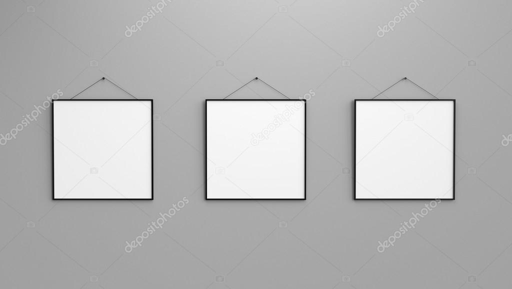 Zusammensetzung von drei schwarzen leere Bilderrahmen auf grüne Wand ...