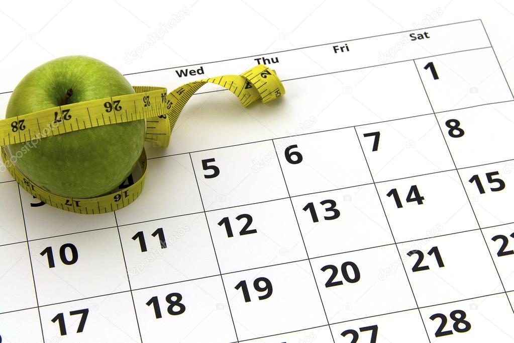 Calendario para fazer dieta
