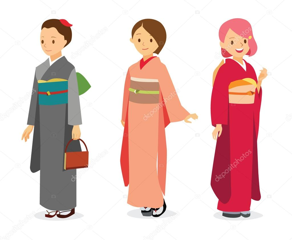 Vector Bande Dessinee Illustration Femmes En Costume Traditionnel