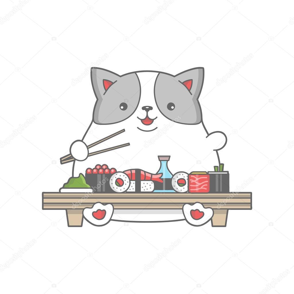 Felice grasso gatto mangia un illustrazione di sushi\u2013 illustrazione stock