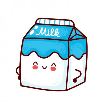 Cute happy milk box. Vector flat line cartoon kawaii character icon. Hand drawn style illustration. Isolated on white background. Milk concept icon