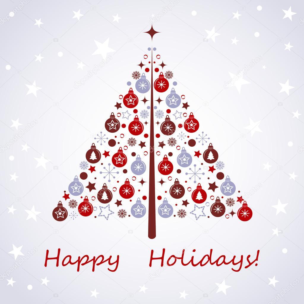 Disegno Stilizzato Albero Di Natale Con Natale Giocattoli Palline