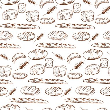 Various types of bread in a playful fashionable modern style, including baguette, bread, flour, loaf, grain. Set of hand drawn bakery products isolated on white background.