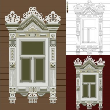 old russian wood window