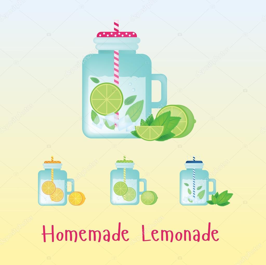 Frische hausgemachte Limonade in Vintage-Flasche. Getränke Limonade ...