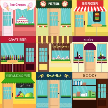 Cool set of vector detailed flat design restaurants and shops facade icons. Ideal for business web publications and graphic design