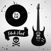 Insieme di segni di musica rock and roll, elementi, etichette