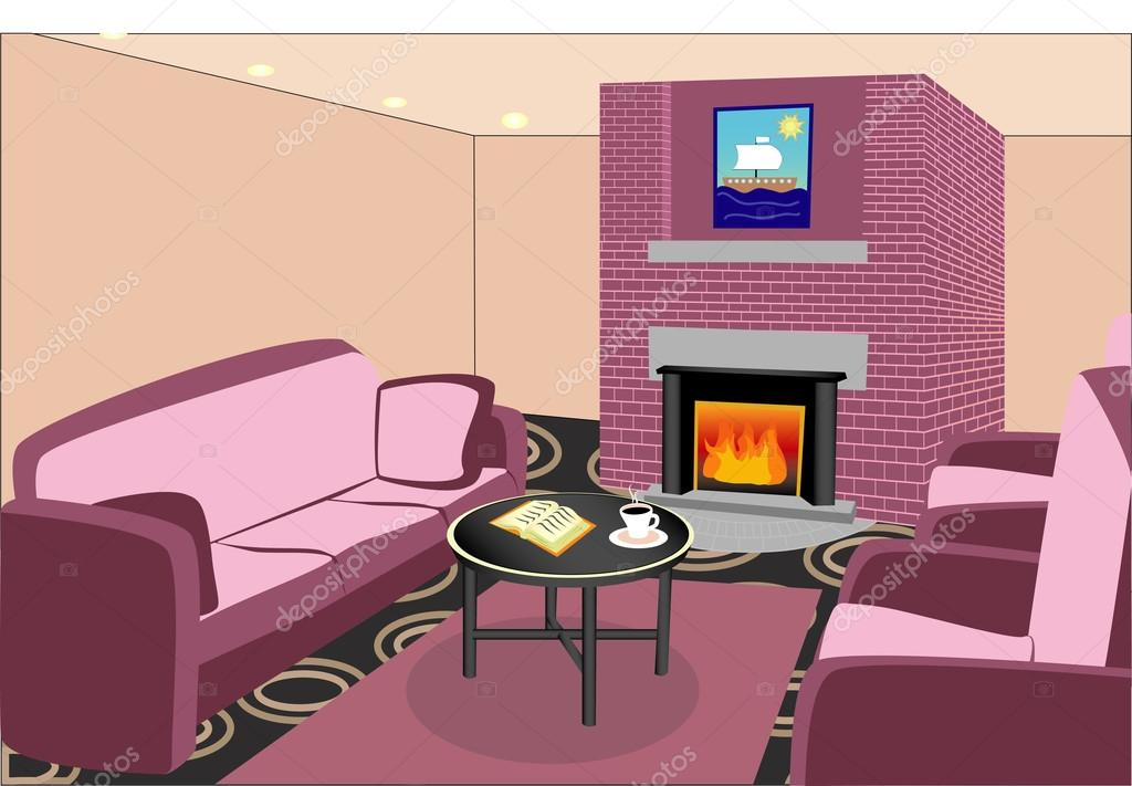 Interior living room with fireplace. Vector illustration — Stock ...