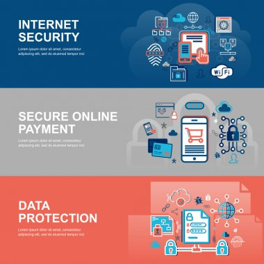 Modern flat thin line design vector illustration, infographic concept of internet security, network protection and secure online payments