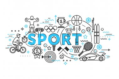 Modern flat thin line design vector illustration, concept of sport, healthcare lifestyle and recreation