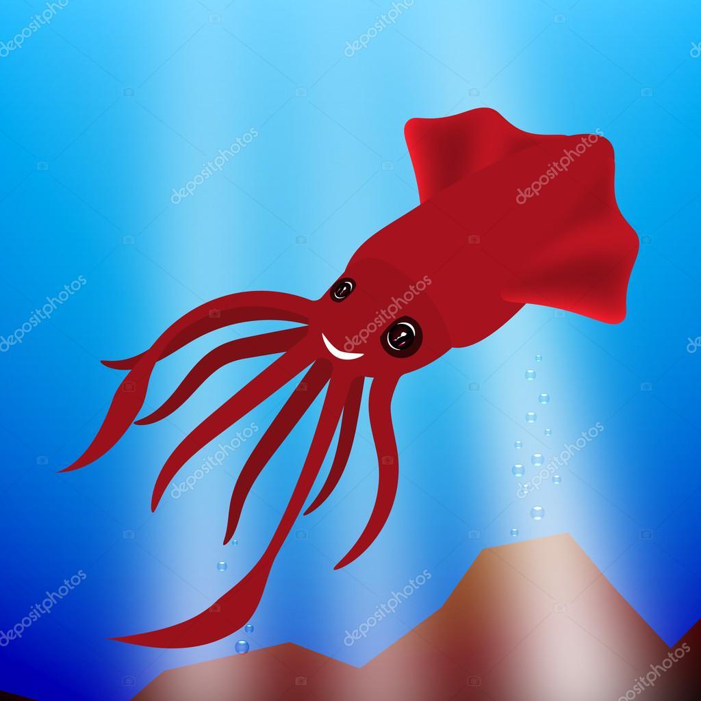 lächelnde kleine Tintenfisch — Stockvektor © aleofanel #118757882