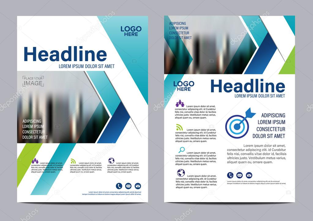 Blue Brochure Layout Design Template Annual Report Flyer Leaflet