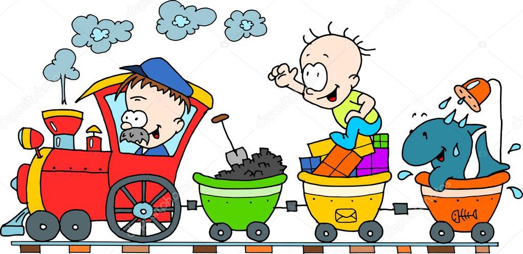 Tren feliz - coloreado sobre un fondo blanco aislado — Foto de stock ...