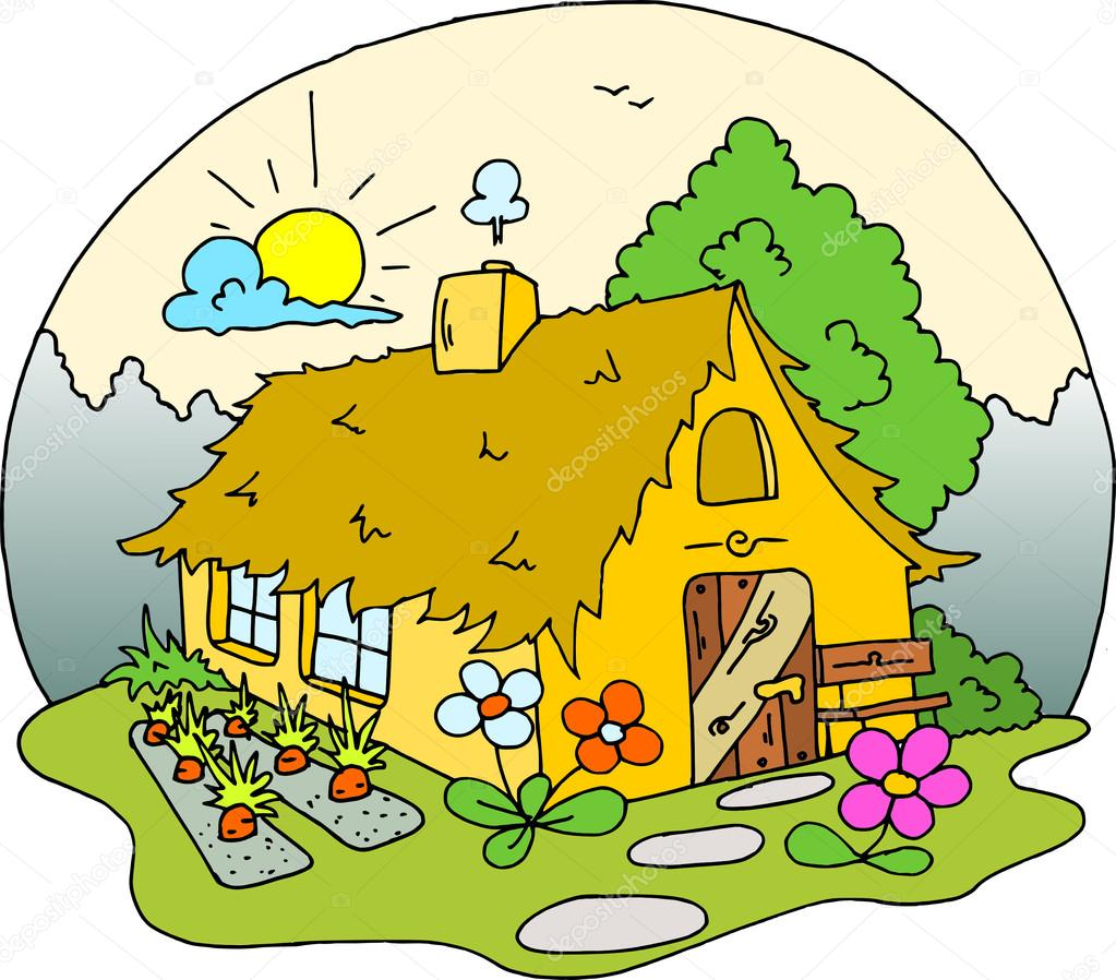 A cottage house colourful drawing vector a house with a garden flowers and vegetables somewhere in the wild photo by martinmodlmartinmodl cz