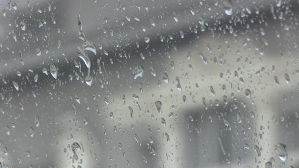 Regentropfen auf Glasscheibe
