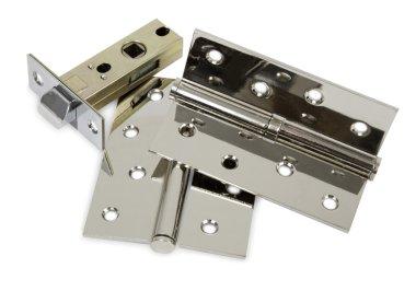 Chromed metal set of hardware for doors