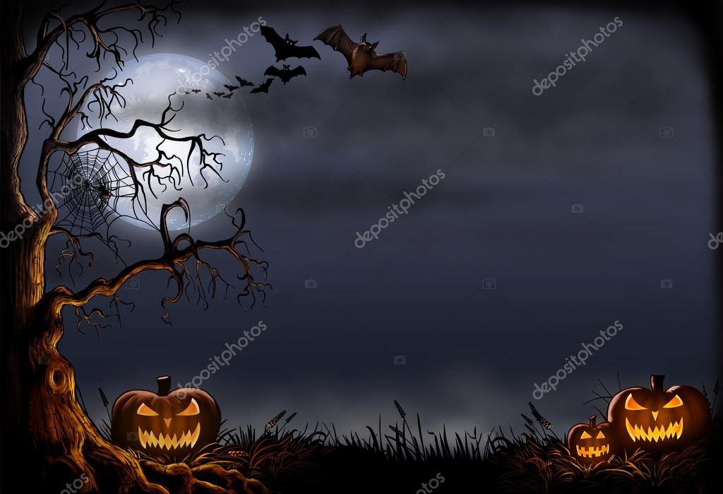 Creepy Halloween Scene with Pumpkins and Bats — Stock Photo ...