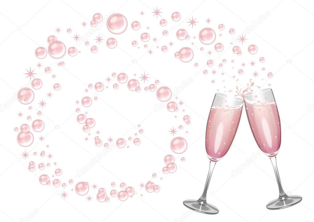 pink champagne in clinking glasses with a swirl of bubbles