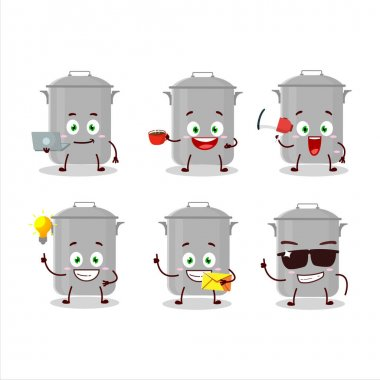 Stock pot cartoon character with various types of business emoticons. Vector illustration