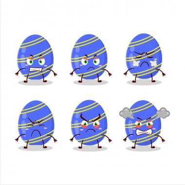 Blue easter egg cartoon character with various angry expressions. Vector illustration