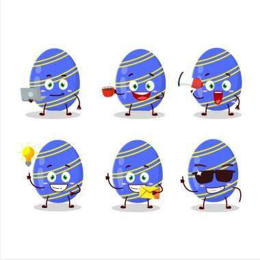 Blue easter egg cartoon character with various types of business emoticons. Vector illustration