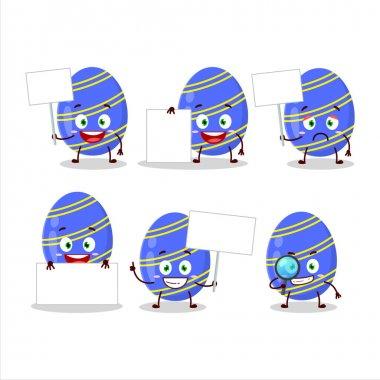 Blue easter egg cartoon character bring information board. Vector illustration