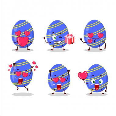 Blue easter egg cartoon character with love cute emoticon. Vector illustration