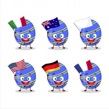 Blue easter egg cartoon character bring the flags of various countries. Vector illustration