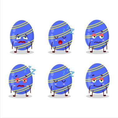 Cartoon character of blue easter egg with sleepy expression. Vector illustration