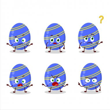 Cartoon character of blue easter egg with what expression. Vector illustration