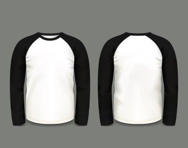 Mens black raglan sweatshirt long sleeve in front and back views. Vector template. Fully editable handmade mesh. EPS 10 clip art vector